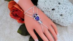 Purple Owl Hand Harness Hand Chain Slave Bracelet by JWBoutique1, $17.00
