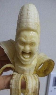 Tales from Weirdland — Banana carvings by Japanese artist, Y. Tales from Weirdland — Banana carvings by Japanese artist, Y. Fruit Sculptures, Food Sculpture, Banana Man, Banana Fruit, Fruit And Vegetable Carving, Food Carving, Pumpkin Carving, Unusual Art, Fruit Art