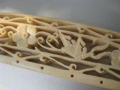 Antique carved purse handle bone ivory plastic  by pinksewingroom, $45.00