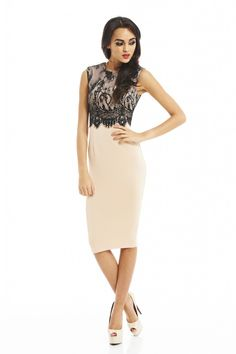 If youre looking for sophistication with a subtle hint of sexy, then this is the dress for you. Simple, elegant, yet sexy with class, this gorgeous lace overlay midi is definitely a wow dress.     Approx back length from top of shoulder to hem: 105cm  Fabric Composition: 92% Polyester  8%Elastane  Colour: NUDE/BLACK