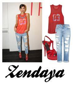 """Zendaya"" by ayannap ❤ liked on Polyvore featuring adidas, Genetic Denim, women's clothing, women, female, woman, misses and juniors"