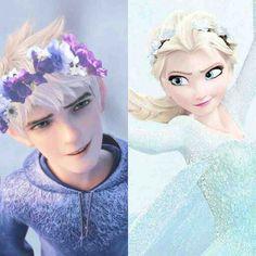 Elsa Flower crown Jack Frost flower crown Jelsa <3 Frozen Rise of the Guardians