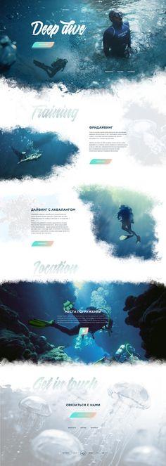 Diving School Website Concept on Behance Web Design Examples, News Web Design, Web Design Trends, Travel Brochure Design, Scuba Diving Magazine, Diving School, Photoshop Course, Website Design Layout, Website Design Inspiration