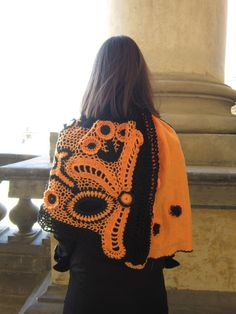 Orange and Black Freeform Crochet Shawl Woman Flower by MARTINELI