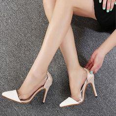 de mujeres de las bombas del dedo del pie cerrado zapatos de tacón de aguja de piel sintética