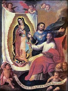 On feast day of Our Lady of Guadalupe, a unique painting showing God the Father, the Son and the Holy Spirit creating the tilma Images Of Christ, Religious Images, Religious Paintings, Unique Paintings, Blessed Mother Mary, Blessed Virgin Mary, Catholic Art, Roman Catholic, Lady Guadalupe
