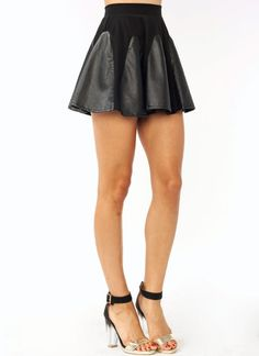 Perforated Contrast Skater Skirt
