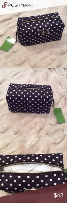 Kate Spade Blake Avenue Medium Davie Brand new medium Davie make up bag by Kate Spade. Black nylon with white diamond dot print. kate spade Bags Cosmetic Bags & Cases