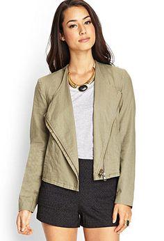 Asymmetrical Linen-Blend Jacket | LOVE21 - 2000062233