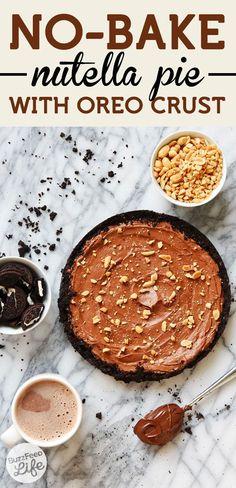 No-bake pie made with Oreos, Nutella, and hazelnuts