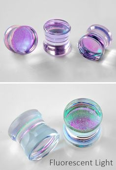 Deluxe Dichroic Plugs (Lavender Gold) - Women's style: Patterns of sustainability Body Jewelry Piercing, Ear Jewelry, Fine Jewelry, Unique Jewelry, Bullet Jewelry, Body Piercing, Jewellery, Gauges Plugs, 00 Plugs