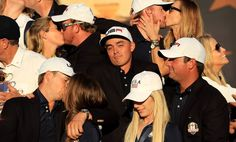 While other golfers from Team USA brought their significant others up to celebrate after winning the Ryder Cup, Rickie Fowler hung out by himself. Funny Images, Funny Photos, Rickie Fowler, Club Face, Ryder Cup, Golf Channel, Nfl News, Team Usa, Fantasy Football