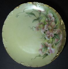 Rosenthal Small Cabinet Plate, Pink Floral Design Hand Painted, Signed by Artist, Metallic Gold Accents and Trim, Bavarian China