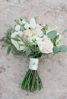 White & Blush rose nosegay