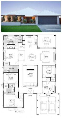 45 beste ideer for husplaner kontorer i åpen etasje 4 Bedroom House Plans, House Layout Plans, Bungalow House Plans, Bungalow House Design, Family House Plans, Dream House Plans, Modern House Plans, House Layouts, Modern House Design