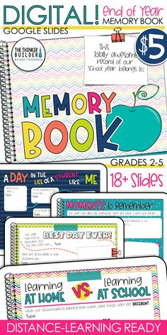 Digital Memory Book for End of Year Classroom Fun, Future Classroom, Google Classroom, Kindergarten Graduation, Kindergarten Art, End Of Year Activities, Learning Resources, Classroom Resources, Educational Activities
