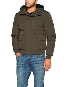 edc by ESPRIT Men's 097cc2g001 Jacket, Green (Olive 360), Small