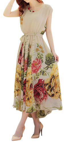 US$ 23.45 Women Floral Printed Chiffon Elastic Waist Short Sleeve Dresses