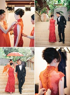 A coral wedding in Phuket wedding. Look at that beautiful oriental wedding gown!