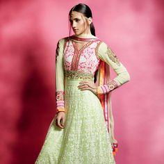 Light Green Faux Georgette Semistitched  Abaya Style Churidar  Kameez