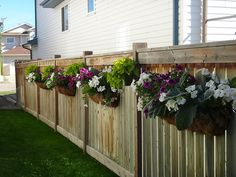 Affordable Landscaping Near Me Side Yard Landscaping, Backyard Fences, Backyard Projects, Garden Projects, Hanging Plants On Fence, Fence Planters, Yard Design, Fence Design, Garden Trellis