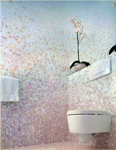 pink and blue mosaic tile bathroom; these are exactly the colors I want Mosaic Bathroom Tile, Beautiful Tile, House Design, Bathroom Inspiration, Tiles, Bathroom Design Luxury, Tile Bathroom, Modern Luxury Bathroom, Bathroom Design