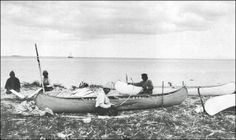 Innu making canoes near Sheshatshiu, ca. Photo by Fred C. (B&W copy) Lac Saint Jean, Military Flights, Aboriginal People, Canadian History, Newfoundland And Labrador, Canada, First Nations, Quebec, American Indians