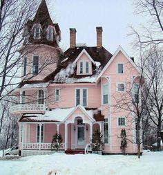Lovely pink Victorian in winter.