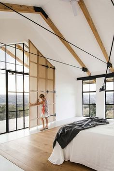 Industrial Style Architect's House created by Nadine Engelbrecht in South Africa using a barn as inspiration Small Room Bedroom, Small Rooms, Modern Bedroom, Master Bedroom, Master Suite, Bedroom Bed, Stylish Bedroom, Bedroom Ceiling, Bedroom Lighting