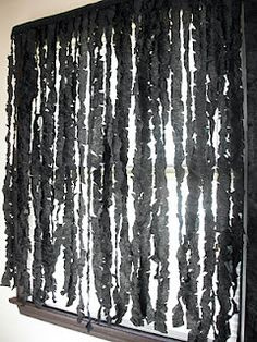Halloween curtains out of streamers