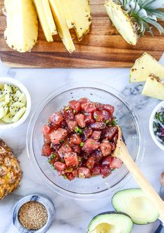 Keep it light and fresh at your next party with this Ahi Poke Bowls recipe. Complete with fresh pineapple and avocado, this raw appetizer idea is bold enough to keep things interesting but simple enough for anyone to prepare.