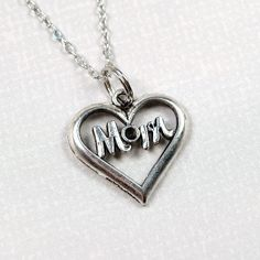 Mom Heart Necklace charm small silver by chrysdesignsjewelry, $10.00
