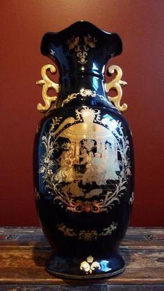 Vintage Black & Gold L. F. LIMOGES Urn Style Porcelain Vase #Limoges