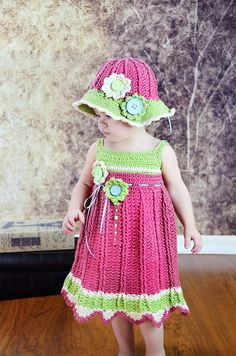 Crocheted Girls Spring/ Easter/ Church/ Flower by JoinedWithAHook, $132.00>>  Love love love this outfit!