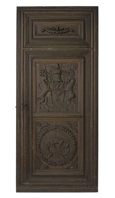 Door with two main panels of oak, one with the Royal Arms of Scotland, held within a mid 19th century softwood frame and with a mid 19th century softwood carved panel depicting a thistle plant at the top, with ironwork of the 19th century in an antiquarian style, formerly one of the doors of the Antique Room at Wooers' Alley, Dunfermline