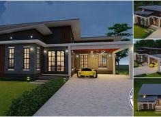 แบบบ้านสวยสไตล์ลอฟท์  3 ห้องนอน 2 ห้องน้ำ พื้นที่ใช้สอย 160 ตารางเมตร Cabin Plans, House Plans, One Storey House, House With Balcony, Model House Plan, Bamboo House, Modern Architecture House, House Layouts, Plan Design