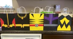 Avengers Party Bags. Wolverine, The Wasp, Black Panther, Hawk Eye, and Black Widow