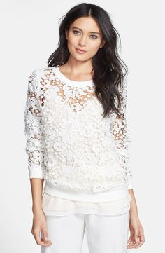 Chelsea28 Embroidered Lace Pullover