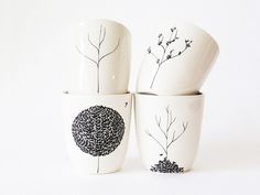 Four Seasons Cup Set....set of 4, hand drawn trees on decals then hand applied...very sweet