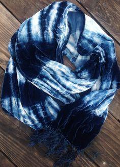 Spaced Stripe Tie and Dye Scarf // Silk Rayon Velvet