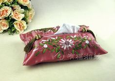 HAND EMBROIDERED SILK TISSUE BOX PINK   chinese embroidery tutorial