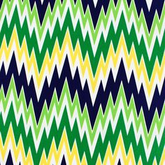 "Navy Kelly Green Yellow Shakey Chevron Crepe De Chine Fabric - Love this print!  Vintage color palette of navy blue, yellow, lime green, and kelly green shakey chevron zig zag print crepe de chine fabric.  Fabric is light weight and drapey. Repeat measures 7 3/4"".  Crepe de chine is a light and fine silk like woven fabric with a slight crepe texture great for dresses, tops, scarves, skirts, and more!  ::  $6.50"