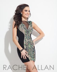 Rachel Allan 4058 Black Homecoming Dress