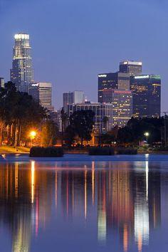 Downtown Los Angeles, California, behind Echo Park Lake.  by John Warburton-Lee