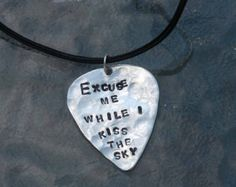 Hand Stamped Guitar Pick Sterling Leather Necklace - Excuse Me While I Kiss The Sky- Purple Haze Lyrics By Inspired Jewelry Designs