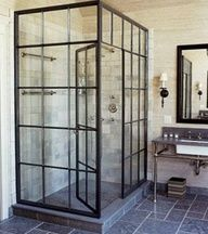 factory window style shower - Modern unique bathroom. Where industrial meets greenhouse.