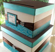 country wedding ideas in brown and turquoise | turquoise and brown wedding card box must have but i need turquoise ...