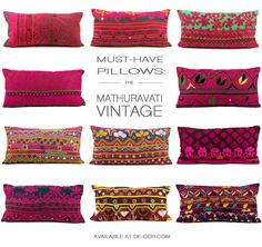 With vibrant hand embroidered fabric taken from vintage tribal skirts, this intricate lace-like cotton pillow is a warm splash of color to your living space.