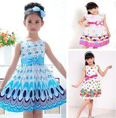 Sale 2013 Kids Girls Dress cute peacock color sleeveless princess dress circle Korean Fashion Blue children's clothing New $6.97 - 10.20