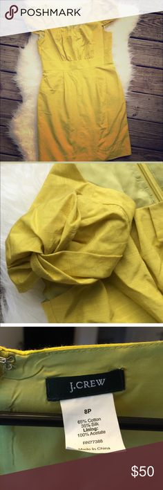 ‼️ BIG ‼️PRICE✂️CUT‼️⚓️J Crew⚓️ Dress🌸 I LOVE this dress but it's too short for my job teaching pre-k😂 Fully lined, beautiful mustard yellow color. Silk/Cotton blend, with so cute cap sleeve detail. EUC , just needs to be ironed 🙋🏼💕 J. Crew Dresses